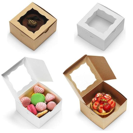 Custom PVC Transparent Window Kraft Ivory Bakery Boxes Eco Friendly Cake Food Packaging Kraft Paper Box