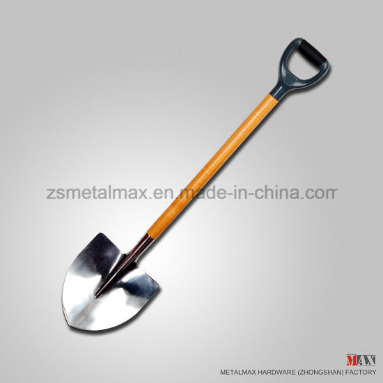 Wholesale Traditional Stainless Steel Gardening Tool Wooden Handle Digging Round Nose Snow Shovel pictures & photos