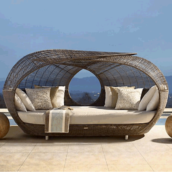 Round Wicker Rattan Sofa Lounge Outdoor Sunbed with Canopy Sunbeds for Beach