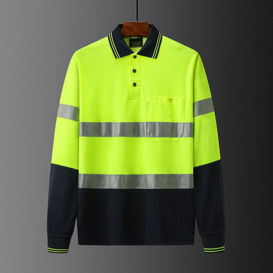 Hivis Polo Shirt Workwear with Reflective Tape