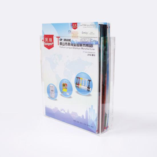 Acrylic Brochure Card Magazine Book Box Display Holder with Suckers