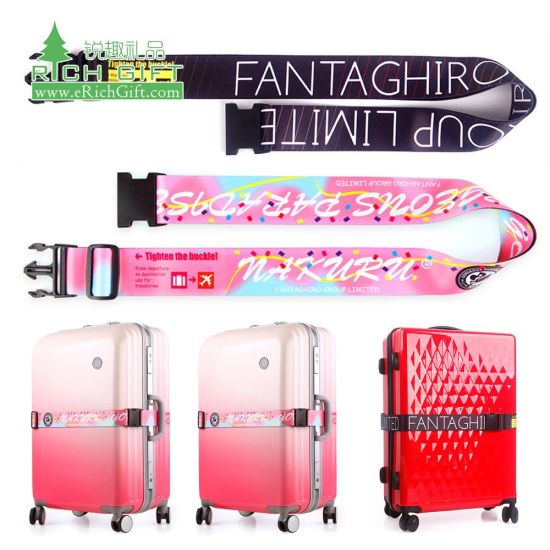 Promotion Personalized Custom Made Logo Embroidered Fabric Luggage Belt Adjustable Travel Bag Cross Silkscreen Sublimation Nylon Luggage Strap with Metal Buckle