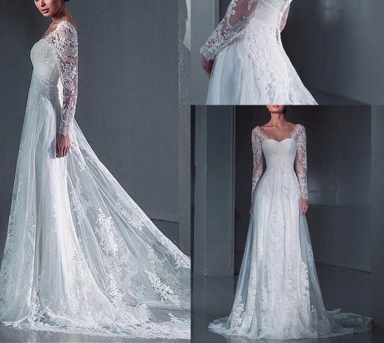 China Long Sleeves Bridal Evening Dresses Lace Beach Garden Wedding ...