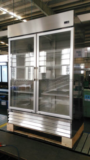 China 1400l Glass Door Cold Drink Display Stainless Steel Commercial