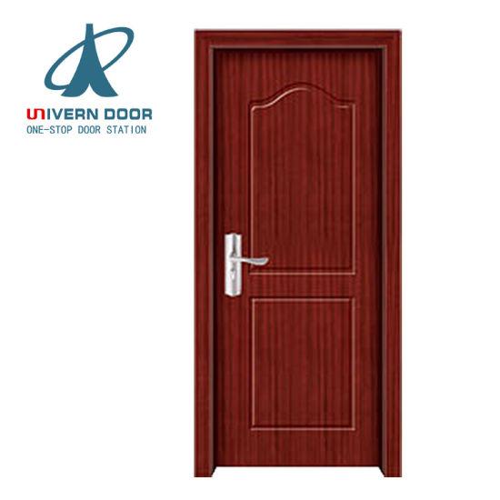 China Simple Design Wood Slat Room Door Design Double Leaf