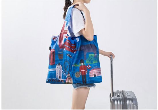 City Printing Foldable Shopping Bag Eco Friendly Handbag Cartoon Women′s Waterproof Reusable Travel Bags