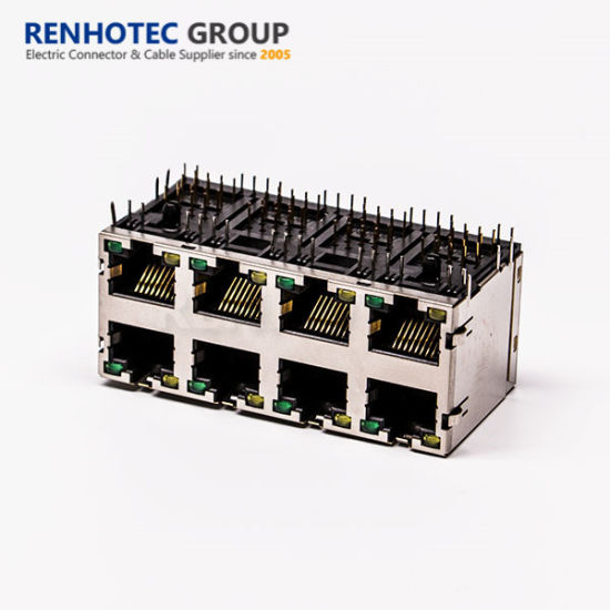 2*4 Shielded RJ45 Connector with LED Light