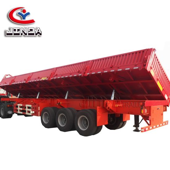 China Factory Export 4axle Dump Trailer 45 Cubic Gooseneck Dump Trailers 80 Ton Dump Trailer with Ramps for Sale in Uzbekistan