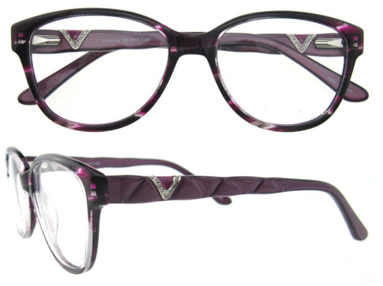 Latest Design Girls Top Acetate Eyeglasses Frames with Dimond pictures & photos