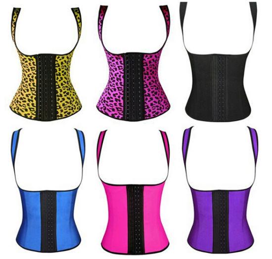 Womens Workout Latex Waist Training Cincher Shapewear Vest