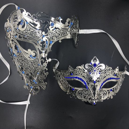 Mardi Gras Venetian Masquerade Party Mask Blue /& Gold NEW