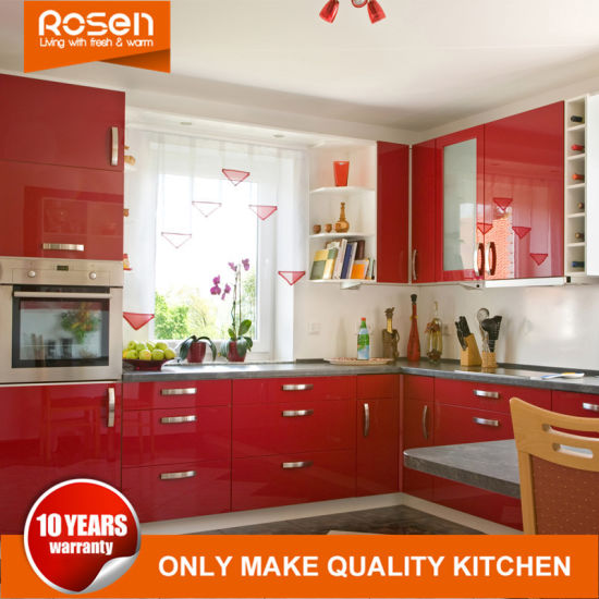 Customized Red Colors Design Acrylic Laminate Kitchen Cabinets Furniture