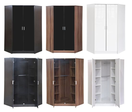 Delicieux New 2 Door Corner Wardrobe With Shelves In 3 Colour