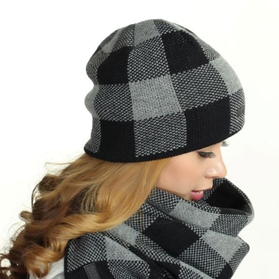 Winter Knitted Earflaps Beanie Hats with Scarf