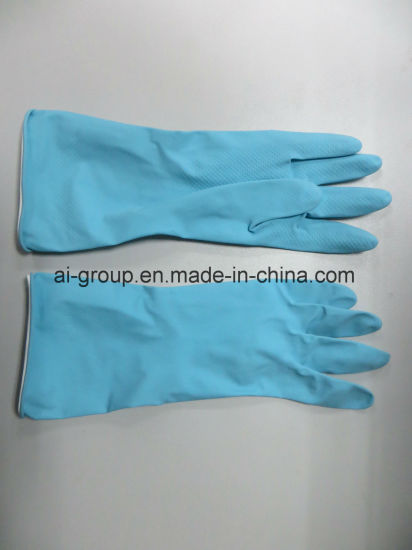 Blue Latex Household Glove for Agriculture, Fruit Harvesting, Garden Maintenance, Household and Janitorial pictures & photos