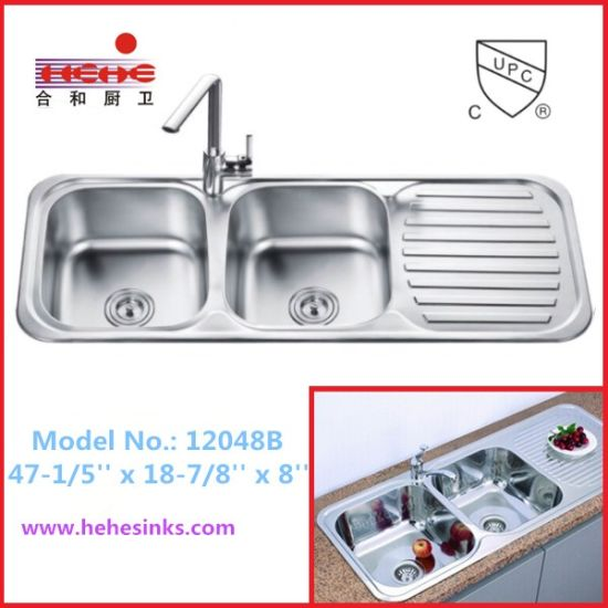 China 50/50 Double Bowl Kitchen Sink with Drain Board (12048 ...