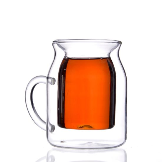 BB37A78 Drinking Double Wall Tea Glass Cup Coffee Mug with Handle