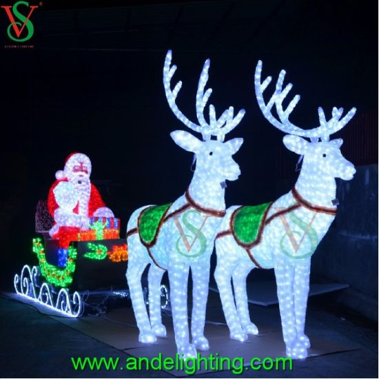 120in Wide Giant Santa Sleigh Two Reindeer Set: China Deer Carriage Santa Claus Motif Light For Christmas