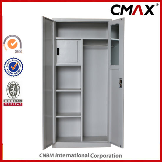 China Metal Cupboard With Mirror And Inside Safe Box Steel 2 Doors