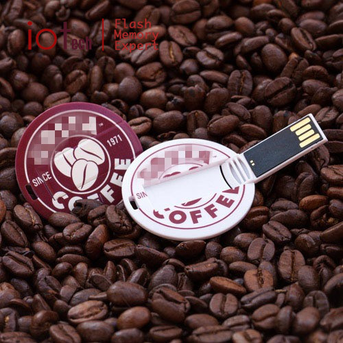 Customized Full Color Print Fashion Advertising 8GB Business Round Circle Card USB 2.0 pictures & photos