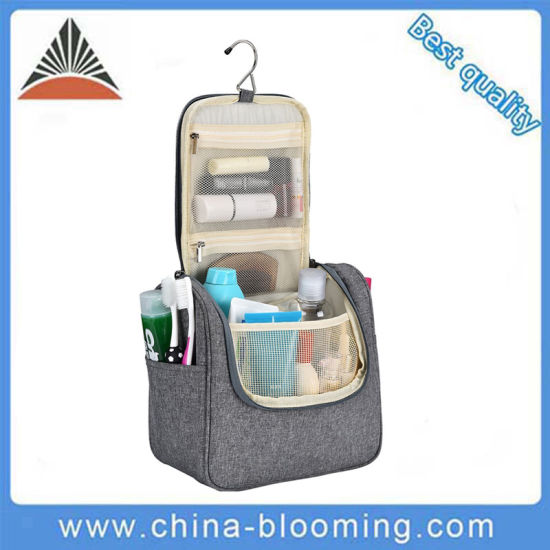 Portable Easy Carry Display Women Hanging Storage Waterproof Washed Wet Polyester Travel Makeup Cosmetic Toiletry Toilet Beauty Washing Bag