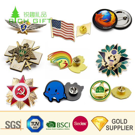 Wholesale Custom Logo Hard Soft Enamel Name Car Handmade Security Police Military Badge Print Blank Round Tin Button Metal Lapel Pin Badge for Promotional Gifts