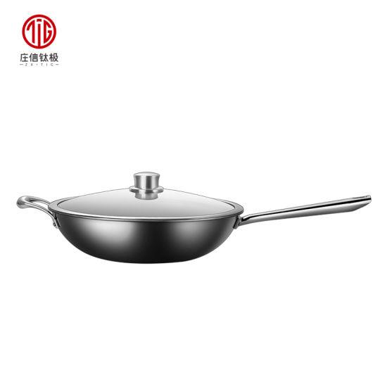 32cm Premium Quality Titanium Aluminum Non-Stick Cooking Wok with Lid