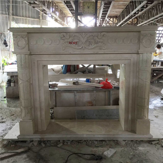 Moreroom Stone Turkish Latte Beige Marble Fireplace Stone in Carving & Sculpture pictures & photos