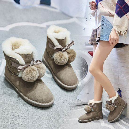 New Fluff Ball Boots Short Boots for Women New Winter Plus Velvet Warm Non-Slip Women's Cotton-Padded Shoes Korean Casual Ankle Boots