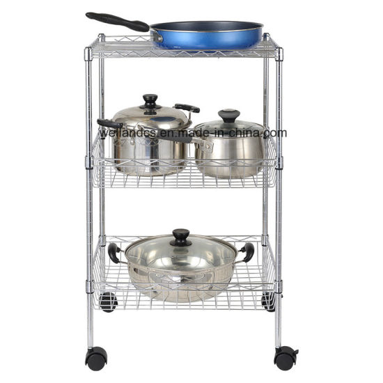 Factory Direct Price Chrome Metal Wire Basket Shelf Kitchen Utensil Rack  with Wheels