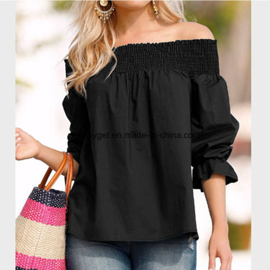f56a78c0aaa787 Womens Striped off Shoulder Bell Sleeve Shirt Tie Knot Summer Blouses Tops  Esg10606