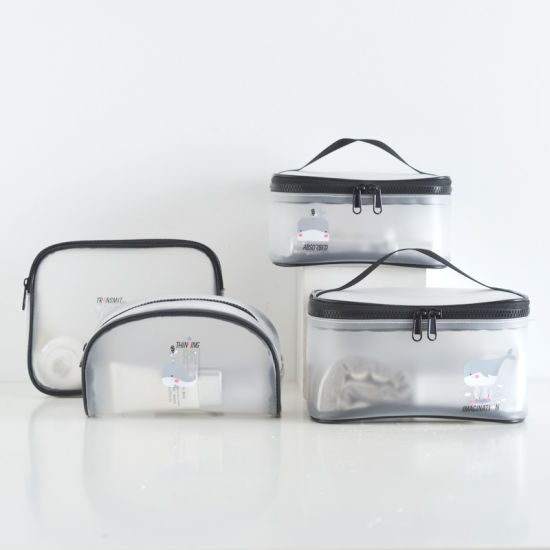 Super Journeying 2019 4PCS PEVA Waterproof Transparent Clear TPU Toiletry Storage Cosmetic Makeup Toiletry Bag Pouch Case Sets