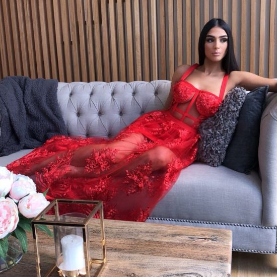 New Red Halter Gown with Sexy See-Through Gown and Evening Gown pictures & photos