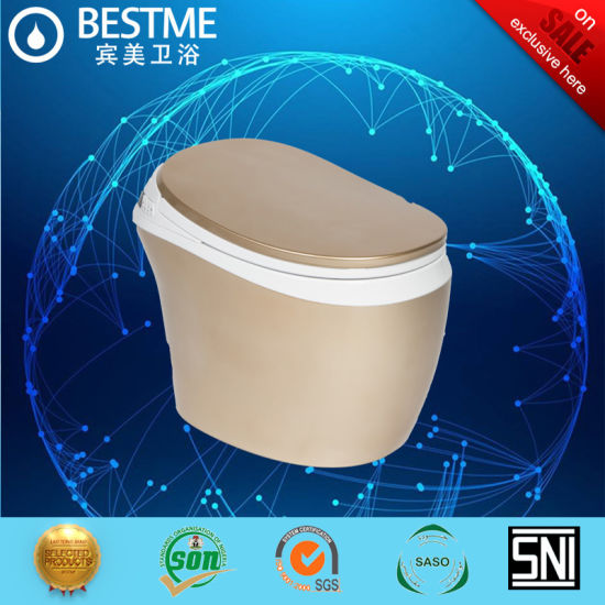 New Design Golden Color PU Seat Cover Intelligent Toilet (BC-838G) pictures & photos