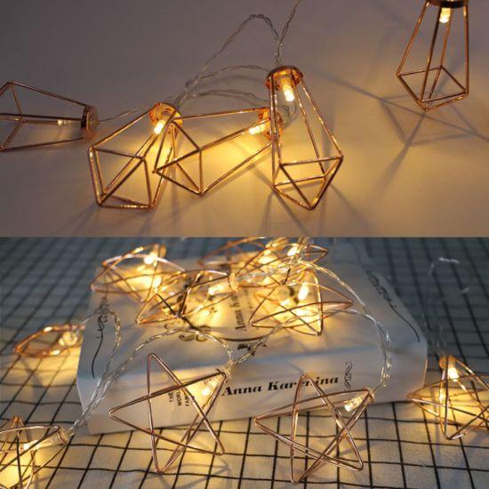 Amazon Hot Sale Nordic Simple Wrought Iron Five-Pointed Star Rose Gold Geometric Light String Ins Diamond Decorative Light Spot