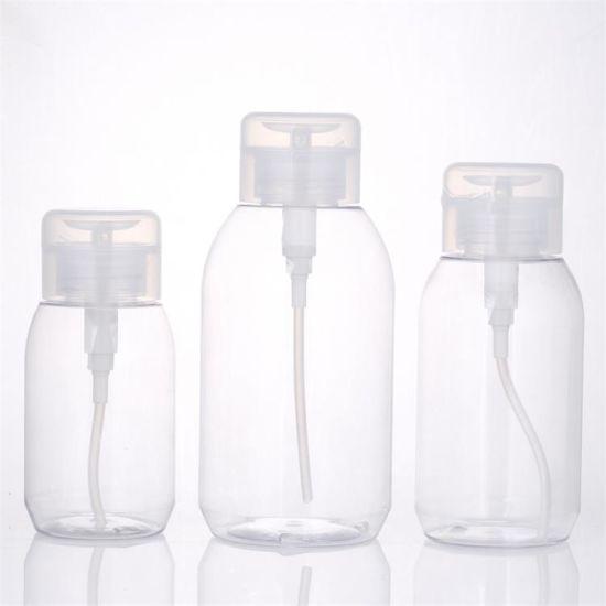 Factory Wholesale Cosmetic Packaging Bottle Pet Plastic Makeup Remover Pump Bottle Nail Polish Remover Bottle Transparent 100ml 120ml 150ml