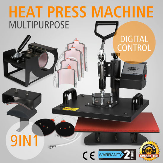 Hot Press Transfer 9 in 1 Digital Press Machine for Transfer on T-Shirt Mug Cup and Hat (9 in 1)