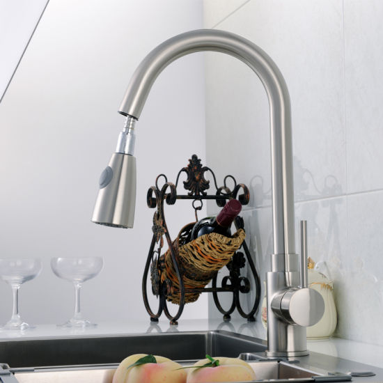 Pull out Faucet Nickel Brushed Silver Swivel Kitchen Sink Mixer Tap pictures & photos