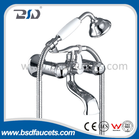 Polished Chrome Deck Mount Bath Faucet Mixer with Hand Shower pictures & photos