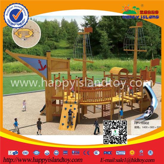 China Outdoor Playground Equipment Wooden Pirate Ship Playground For