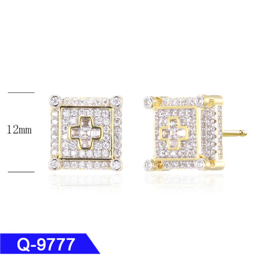 Wholesale Hip Hop Men′s Sterling Silver Fashion Jewelry 14 K Gold Plated Diamond Iced out Stud Earrings pictures & photos