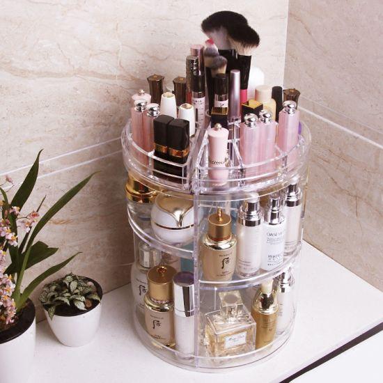 Large Clear Revolving Makeup Organizer