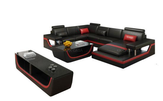 Modern Luxury Living Room Genuine Leather Sofa Set U Shape Lounge Modular  Sofa