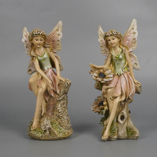 Wholesale New Arrive Garden Decor 2 Ass Fairy Polyresin Sitting Angel Figurine with Wood Base