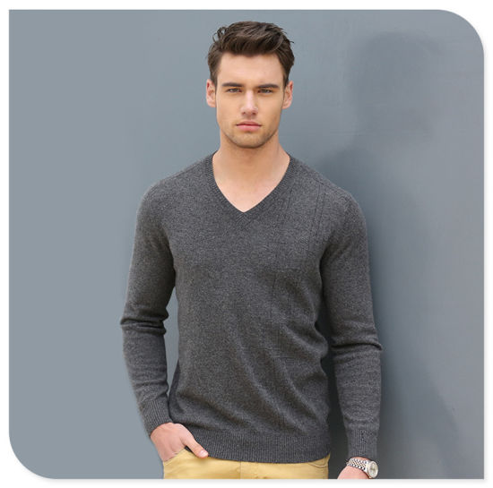 High Quality Wholesale Knit Wear Men's V-Neck Cashmere Sweater