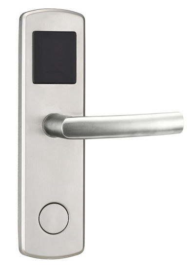 Hotel Electronic Door Lock Satin Stainless Steel Handleset with Card / Key Open