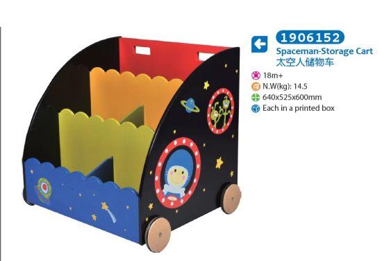 Children Furniture Wooden Toy Box Storage Box with Wheels with Cartoon Pattern