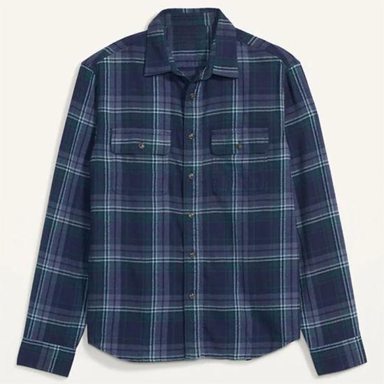 Men's Slim Fit Shirts Navy/Purple Plaid Sport Shirt Long Sleeve