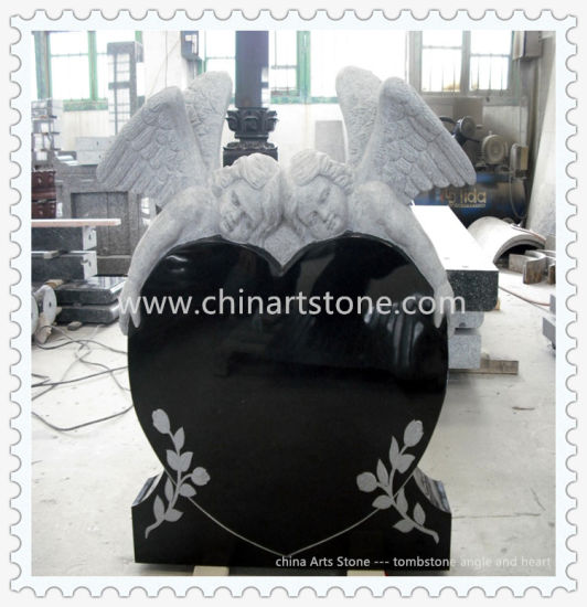 Black/White Granite and Marble Heart Monument Headstone Gravestone for Funeral pictures & photos