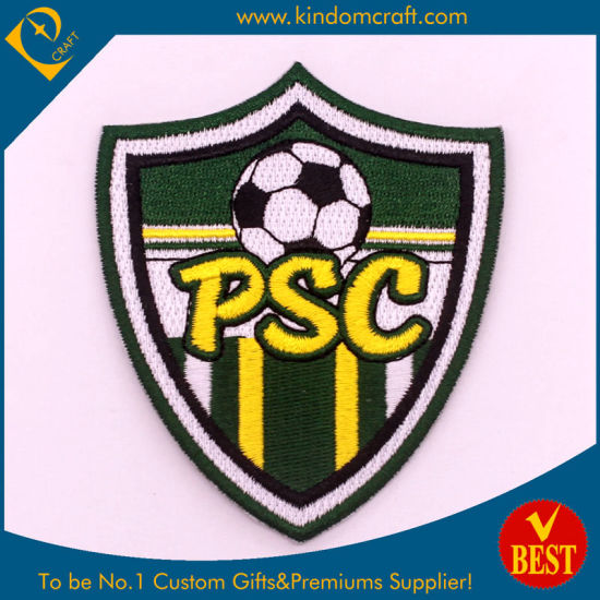 Hand Made Custom Soccer Football Logo Cap Emblem Embroidery Patch Badge at Low Price